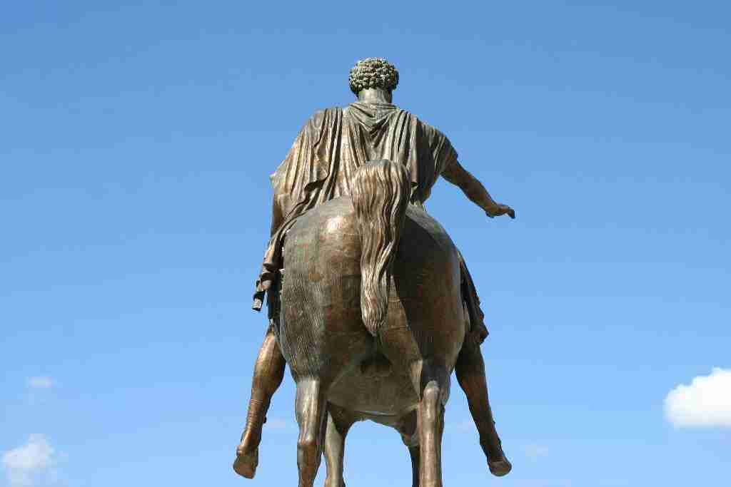 Marcus Aurelius statue on the Capitoline Hill. Note that this statue is a copy. The original is housed inside the Capitoline Museums, also located on this hill.